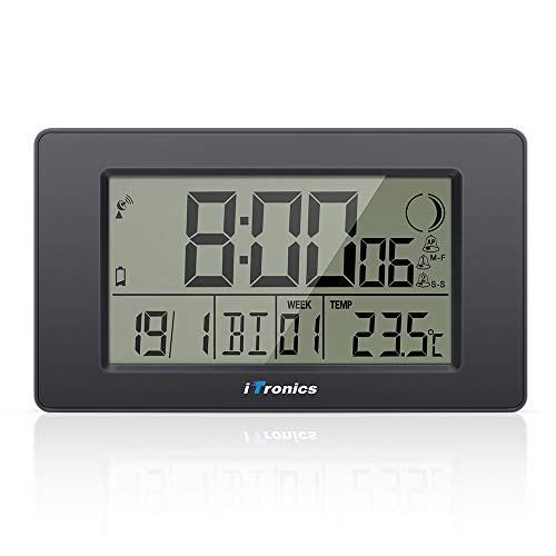 iTronics Reloj de Radio Digital de Pared con Indicador de Temperatura Reloj Despertador Temporizador de Cuenta atras, Negro