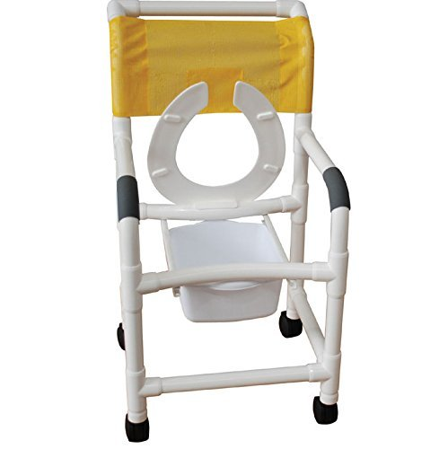 MJM International 118-5-SQ-PAIL-DDA-FLS Standard Shower Chair with Commode Pail, Drop Arms and Front Flip Up Seat 5