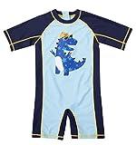 ATTRACO Baby Boys Dinosaur Printed Swim Jumpsuit Little Boys Navy Swimwear 18/24M