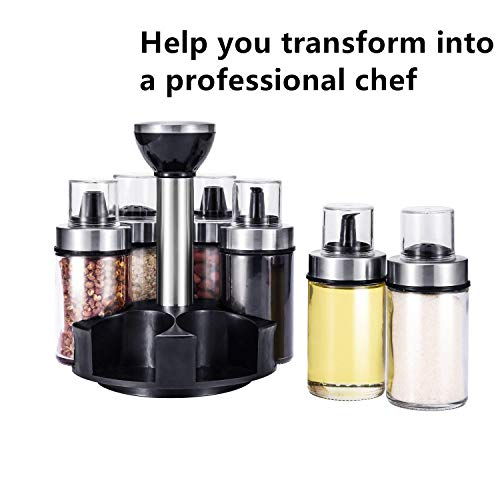 Premium Salt and Pepper Shakers Set 6 Glass Jars with 360°Rotating Holder Seasoning Bottles Stainless Steel Kitchen Spice Rack Set Durable Transparent Dust Cover 3 Different Cover Shapes
