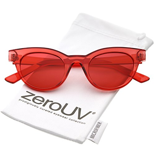 zeroUV - Women's Transparent Horn Rimmed Color Tinted Round Lens Cat Eye Sunglasses 47mm (Red / - Eyes Rimmed Red Cats