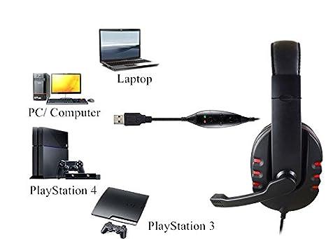 JAMSWALL Multifunktionale Kopfh/örer Gaming Computer Headset Stereo Sound Audio Kopfh/örer f/ür Skype PC Tablet PS3 und PS4 USB Gaming Headset