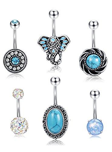 Belly Ring Flower Teardrop (Thunaraz Stainless Steel Belly Button Rings for Women Teen Girls Tribal Elephant Navel Ring Opal Turquoise Piercing Rings 6PCS 14G)