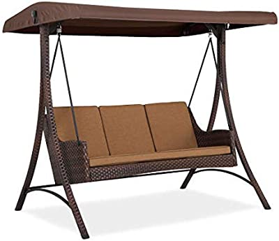 Garden Winds Replacement Canopy Top Cover For The Wilson Fisher Resin  Wicker Swing   Standard 350