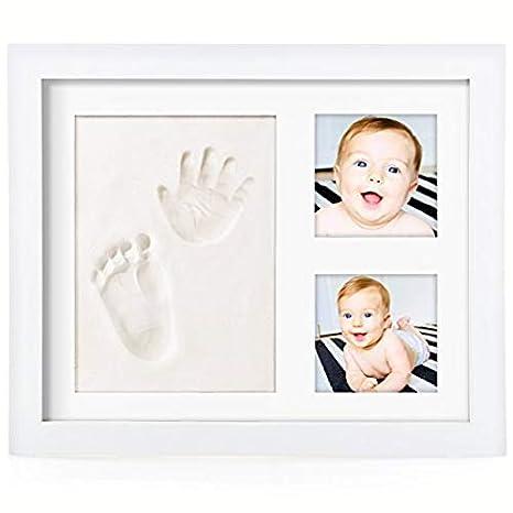 OSARA- Set, Marco de fotos de huella de mano y pie del bebé,kit de madera con molde de arcilla blanca, regalo original para recién nacidos.: Amazon.es: Bebé