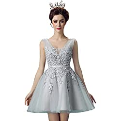 Babyonlinedress Sexy Girl Sweet 16 Dresses Lace Short Quinceanera Party Gown,Silver,Size 8