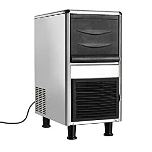 Costzon Stainless Steel Commercial Ice Maker, Air-Cooled Freestanding Undercounter Ice Machine with Ice Shovel