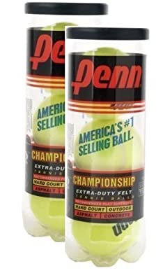 Penn Championship Extra Duty Tennis Balls - Pack of 2 Cans (6 balls)