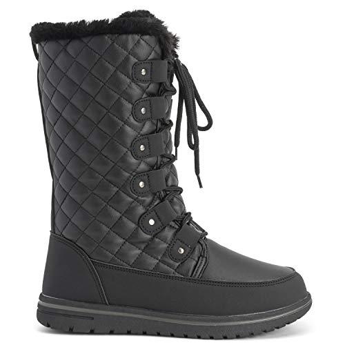 Boot Polar Thermique Femmes Hiver Neige Bottes Hautes Quilted Noir Pluie Imperméable Chaud Cuir Udq46wd