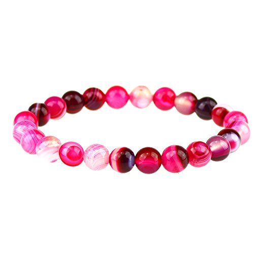 CLEARAIN Beautiful Energy Power Crystal 8mm Chakra Beads Reiki Healing Elastic Stretch Bracelet Rose (Agate Beads Bracelet Elastic)