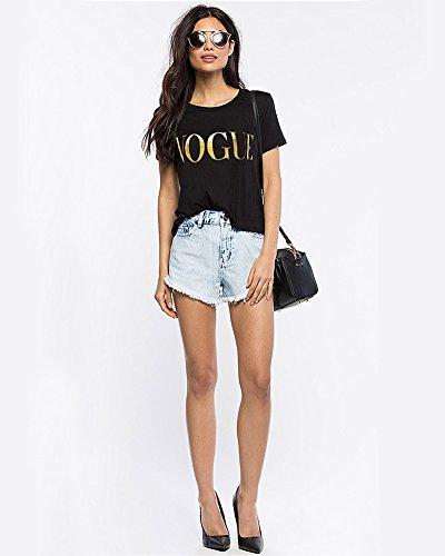 Camicetta Corte Donne oro Ragazze Estate Girocollo T di Maniche Elegante Minetom 01 Shirt Maglietta Nero Slogan Tops Casuale Vogue Stampa Blusa nqYXRxd