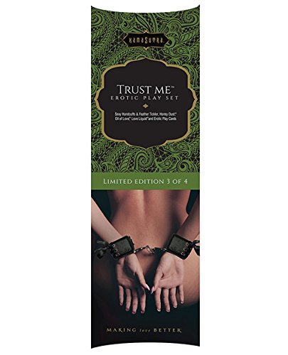 """6 Piece Erotic Playset - ''Trust Me"""" - Soft and Sexy Handcuffs, Feather Tickler, Oil of Love, Honey Dust, Love Liquid, 12 Play Cards - Limited Edition Kit by Kama Sutra"""