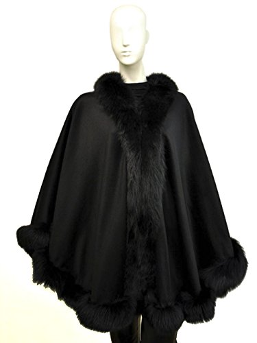 Cashmere Pashmina Group: Cashmere Cape with genuine Fox Fur Trim all around (Ebony)