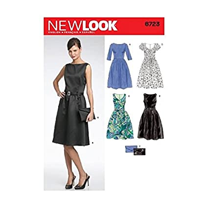 97c98cea32 Amazon.com: New Look Sewing Pattern 6723 Misses Dresses, Size A  (8-10-12-14-16-18): Arts, Crafts & Sewing