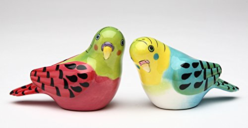 Cosmos Gifts 61546 Fine Ceramic Hand Painted Flights Of Fancy: Pink and Blue Parakeet Love Bird Salt and Pepper Shakers Set, 3-1/4