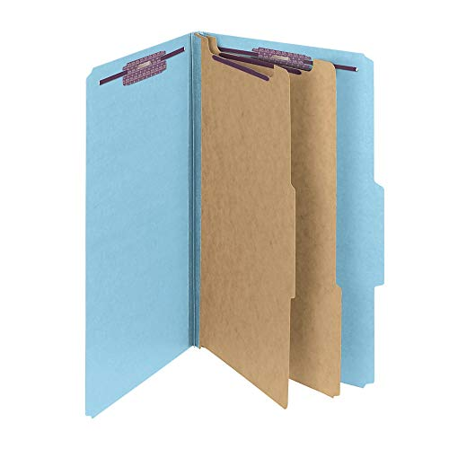 Smead Pressboard Classification File Folder with SafeSHIELD Fasteners, 2 Dividers, 2 Expansion, Legal Size, Blue, 10 per Box (19030)