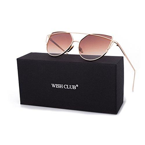 WISH CLUB Women Cat Eye Sunglasses Oversized Transparent Clear Fashion Lens Durable UV400 - Club Wayfarer