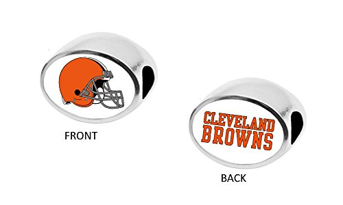 Final Touch Gifts Cleveland Browns 2-Sided Bead Fits Most Bracelet Lines Including Pandora, Chamilia, Troll, Biagi, Zable, Kera, Personality, Reflections, Silverado and More