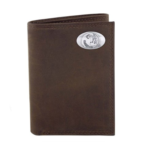 NCAA Florida State Seminoles Light Brown Crazyhorse Leather Trifold Concho Wallet, One Size