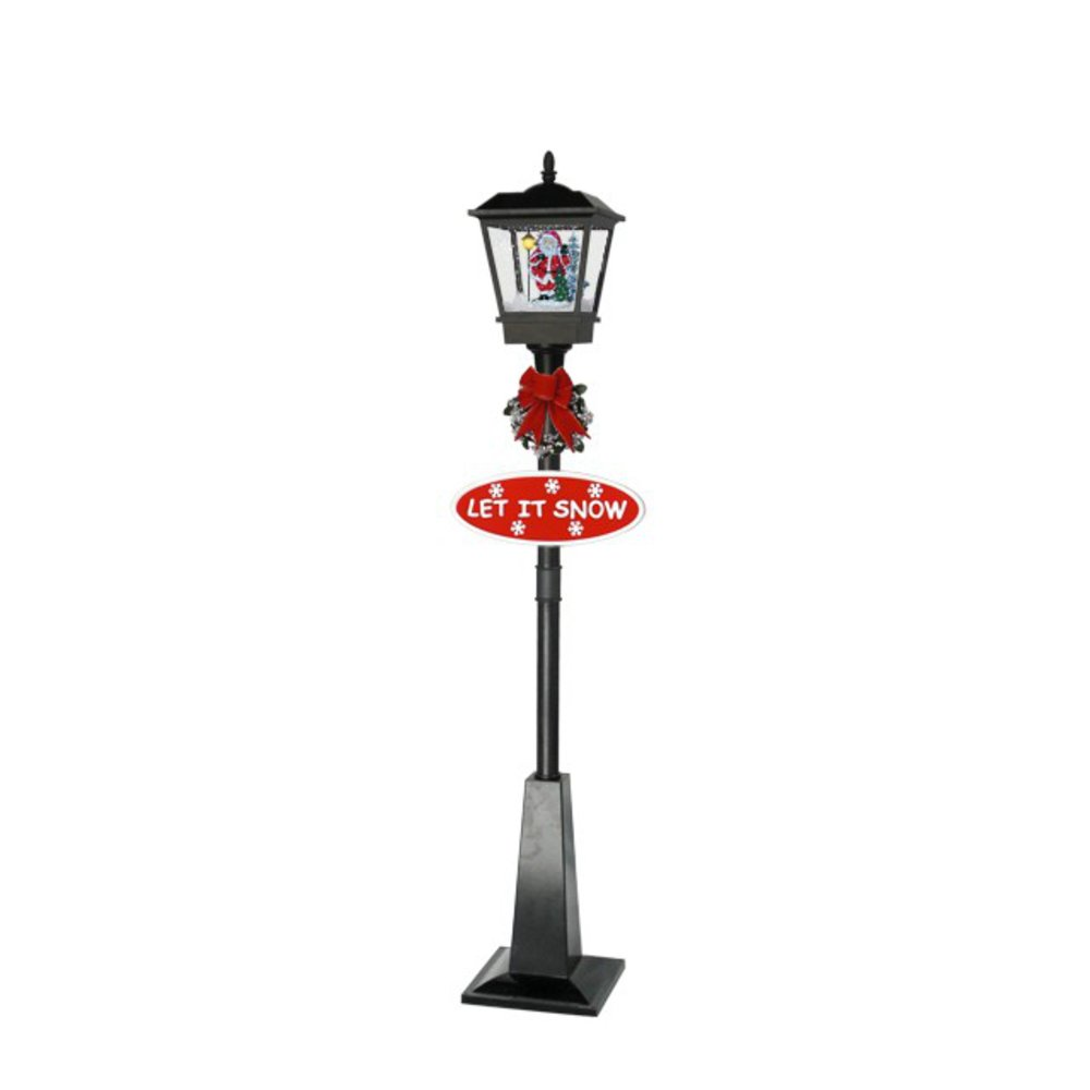 Holiday Decoration Outdoor Christmas Street Lamp with Falling Snow and Music by Red House