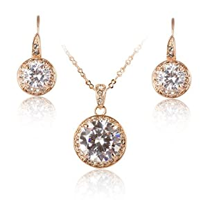 Fashion Plaza Round Clear Cubic Zirconia Crystal Pendant Necklace Dangle Earrings Jewelry Set S71