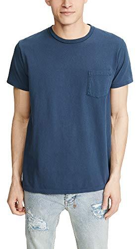 Velva Sheen Men's Pigment Tee with Pocket, Navy, Blue, - Pigment Dyed Pocket Cotton
