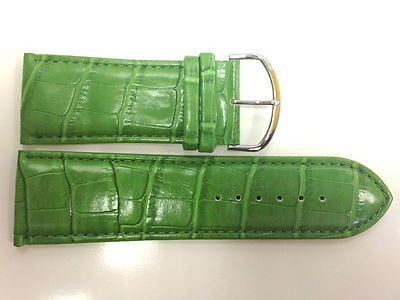 28MM GREEN WIDE PADDED STITCHED CROCO PRINT TRENDY FASHION WATCH BAND STRAP Green Croco Print
