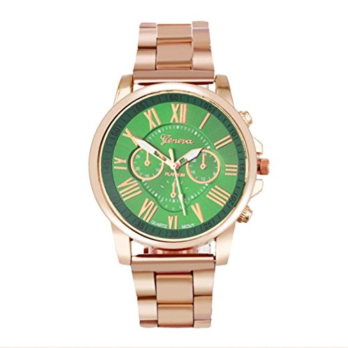 Hot Sale ! ღ Ninasill ღ Roman Number Geneva Stainless Steel Quartz Sports Dial Wrist Watch ()