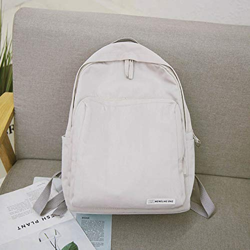Light Greyarbw QWKZH School Bags Japanese Harajuku Style Waterproof schoolbag female middle school student backpack college style Pure color couple shoulder bag
