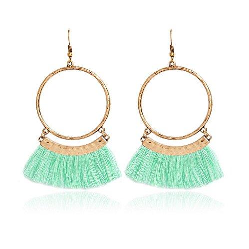 Livtor Fan Tassel Earrings Hoop Drop Dangle Earrings Fish Hook Earring for Daily Wear, Wedding, Party etc(Green)