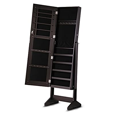 LANGRIA Free Standing Lockable Full Length Mirrored Jewelry Cabinet Armoire