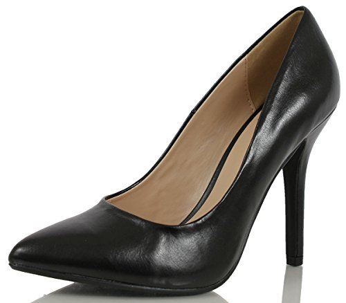 Delicious Women's Cindy Pointy Toe Velvet Single Sole Classic Pump Black PU 9