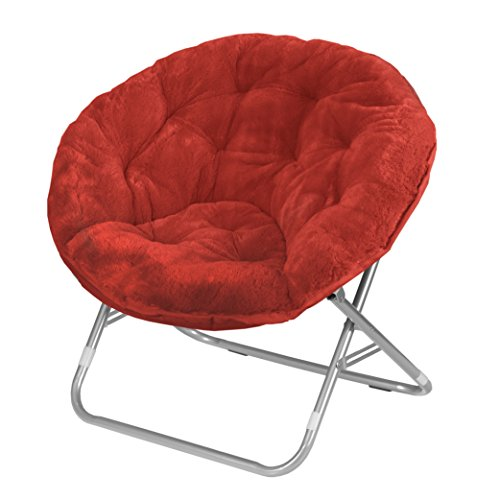 Urban Shop WK659843 Faux Fur Saucer Chair, Adult, Red (Fabric Living Room Folding Chair)