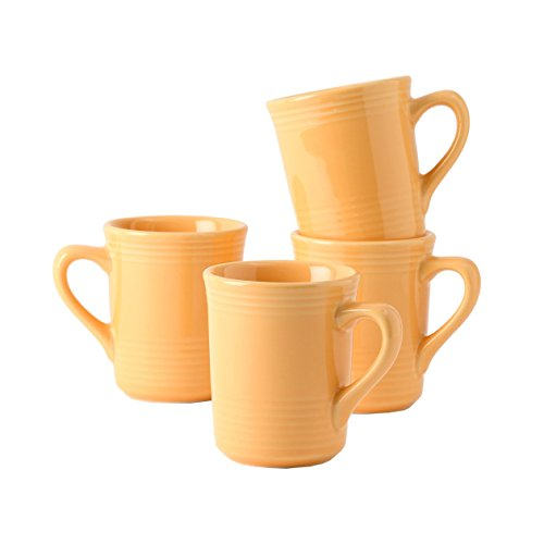 Tuxton Home Concentrix Gala Mug (Set of 4), 8 oz, Saffron Yellow; Heavy Duty; Chip Resistant; Lead and Cadmium Free; Freezer to Oven Safe up to 500F (Saffron Mug)