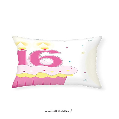 VROSELV Custom pillowcases16th Birthday Decorations Cupcake Candle Teen Girls Style Sweet Surprise Illustration for Bedroom Living Room Dorm Fuchsia - Gomez Selena Style New
