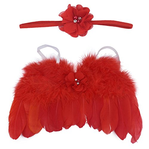 DZT1968 Baby Girl Flower Headband with Angel Feather Wing Photo Prop Costume (Red)