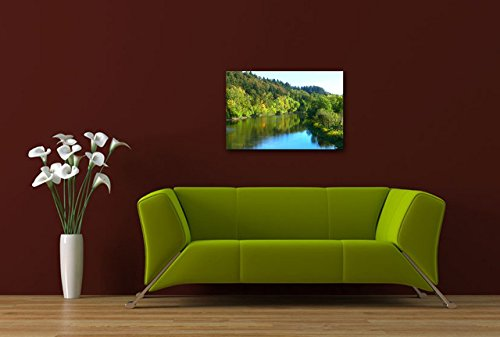 Landscape Photography on CANVAS Blue River Green Forest Panoramic Photographic Print Home or Office Decor Natural Scenery Wall Art Ready to Hang 8x10 8x12 8x20 10x24 11x28 11x14 12x18 12x30