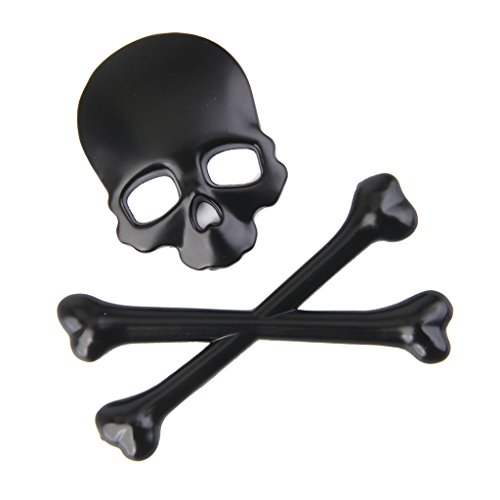 Skull Badge (3D Metal Skull CrossBones Emblem Car Truck Motor Decal Badge Sticker -Black)