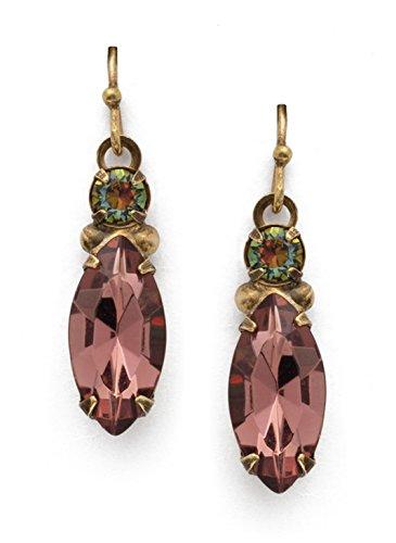 Swarovski Marquise Earring - Sorrelli Vervain Mahogany Burgundy Marquise Swarovski Crystal Antique Goldtone Earrings