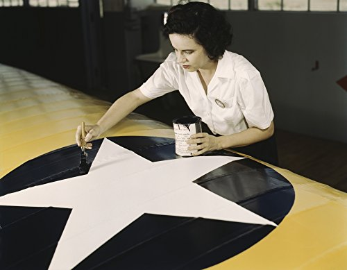 (A female worker paints the American insignia on a Navy plane wing 1942 Poster Print by Stocktrek Images (32 x 24) )