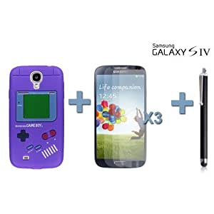 OnlineBestDigital - Gameboy Style Silicone Case for Samsung Galaxy S4 IV I9500 / I9505 - Purple with 3 Screen Protectors and Stylus