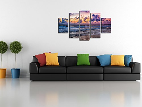 5 Panels Beach Wave Sunset Seascape Home Wall Decor Modern Landscape Canvas Print Painting For Living Room Decoration Artwork No Frame