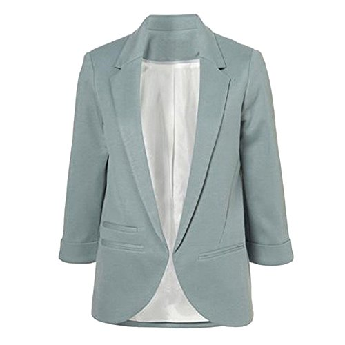 SEBOWEL Women's Fashion Casual Rolled Up 3/4 Sleeve Slim Office Blazer Jacket Suits Gray Green XXL]()