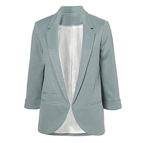 Herringbone Gray Jacket - SEBOWEL Women's Fashion Casual Rolled Up 3/4 Sleeve Slim Office Blazer Jacket Suits Gray Green M