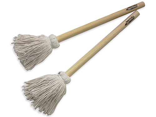 12″ BBQ Basting Mops for Roasting or Grilling, Apply Barbeque Sauce, Marinade or Glazing, Cotton Fiber Head and Natural Hardwood Handle, Dish Mop Style, Perfect for Cooking or Cleaning – Pack of 2 For Sale