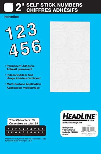 Headline Sign 31232 Stick-On Vinyl Numbers, White, 2-Inch