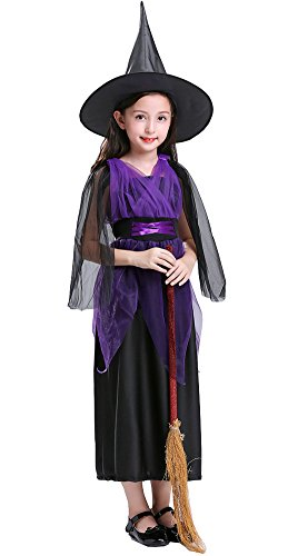 SGBB Girl's Halloween Witch Costume Fancy Dress With Hat (3-4T(100-110), Purple) ()