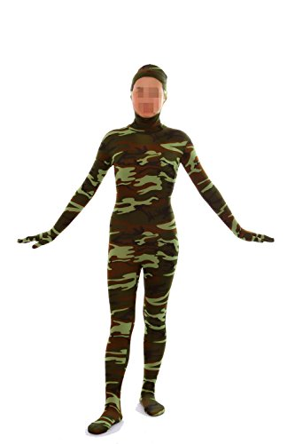 VSVO Face Open Lycra Spandex Zentai Full Body Suit (Small, Camo Green)