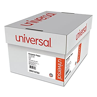 """Universal Green Bar Computer Paper, 2-Part Carbonless, 14-7/8 x11"""" , Perforated, 1650 Sheets (15753)"""