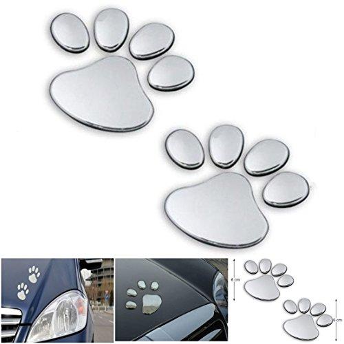 1 Pair Paradisiac Popular 3D Pets Paw Car Sticker Cat Emblem Window Badge Dog Foot Prints Color Silver